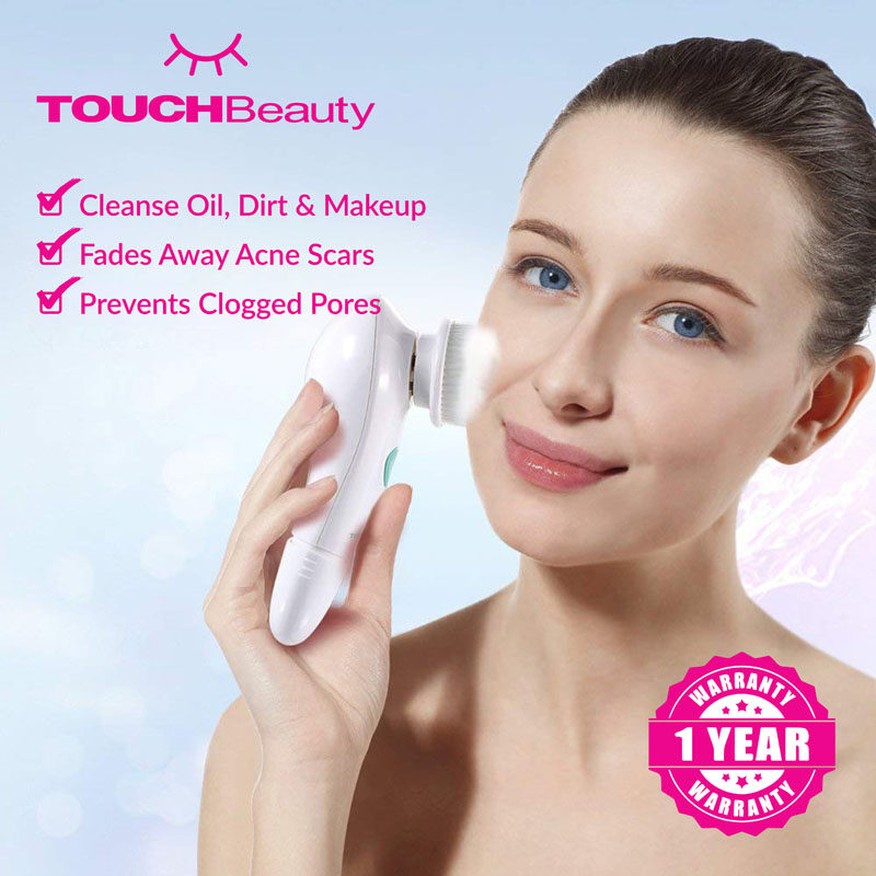 TOUCHBeauty Electric Facial Cleanser machineTB-1487 Removes oil blackheads residual makeup sebum from the pores of the skin/Minimizes acne scarring blemishes dry spots polishes and brightens your skin/ Facial Cleansing Brush Massager /skin care