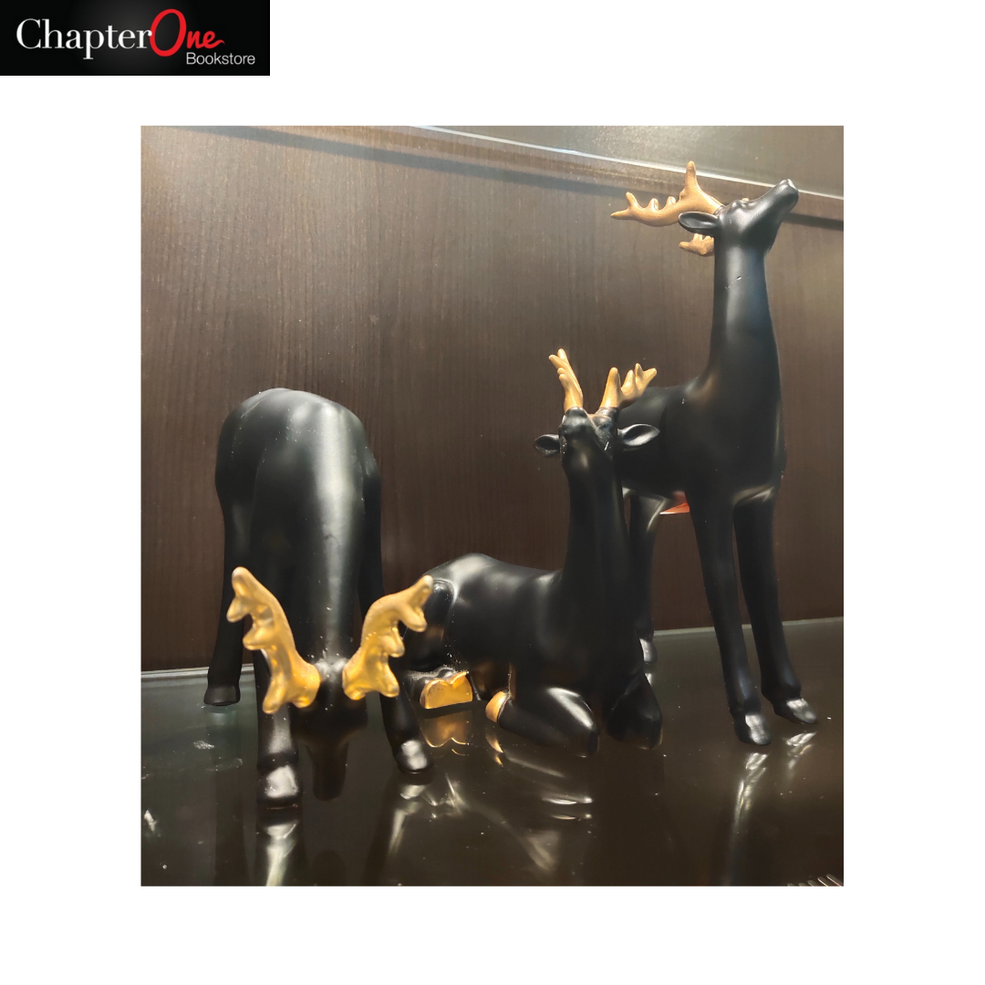Reindeer Sculpture - Black and Gold (Home and Office Decor)