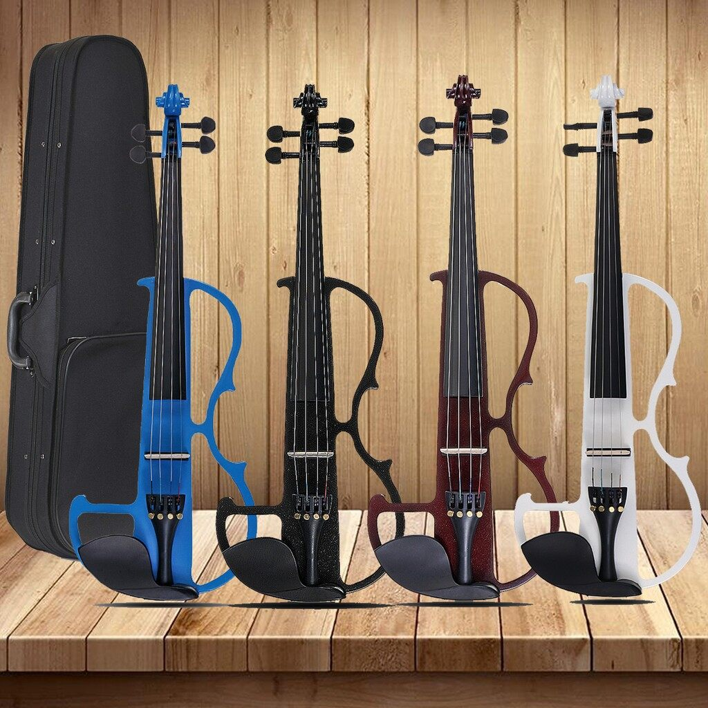 Gadgets - Electric Violin Basswood 4/4 Size + Headphone + Connecting Line + Case Gift_3C - WINE RED / WHITE / BLACK / RED / BLUE