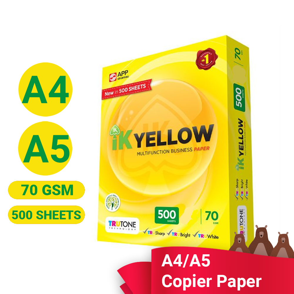 IK Yellow Paper A4 / A5  Size 70 gsm  500 Sheets (Per Ream)  Printing Paper White A4 Paper Photocopy Ink-Jet Laser Fax Machine