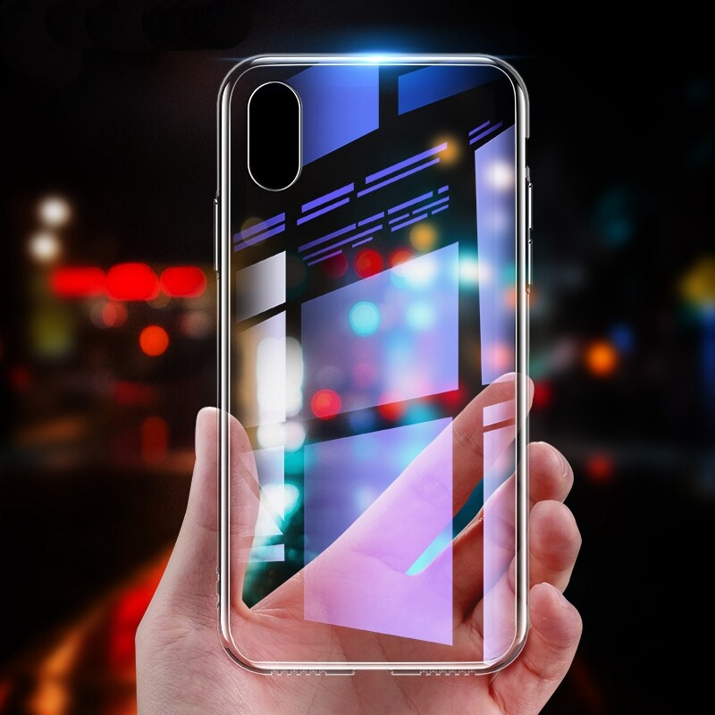 iPh Soft Cover - Protective Case for iPh XS 9D Clear Tempered Glass Back Cover - CLEAR / BLACK