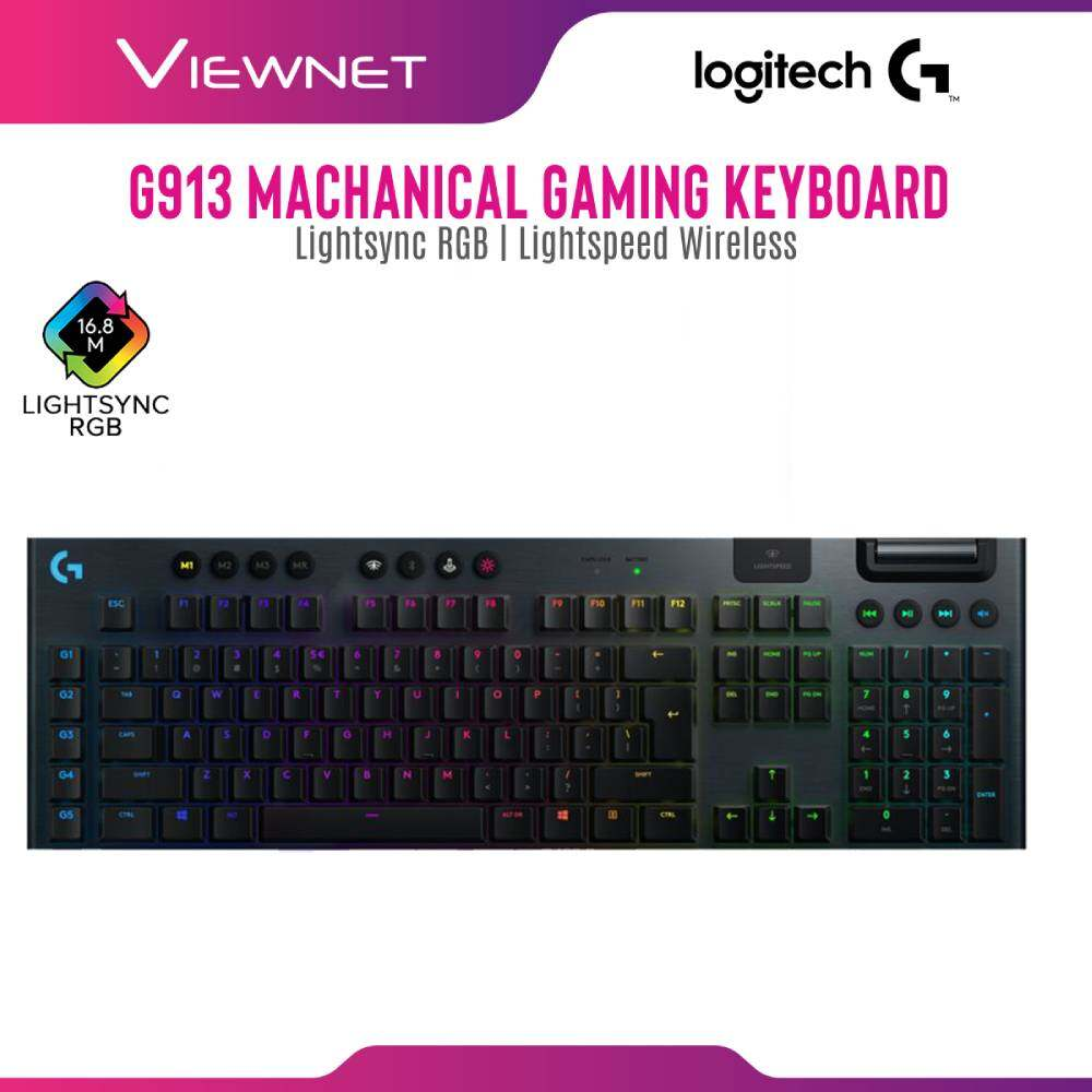 Logitech G913 Wireless RGB Mechanical Gaming Keyboard (Tactile / Linear / Clicky) Lightspeed Wireless, Lightsync RGB