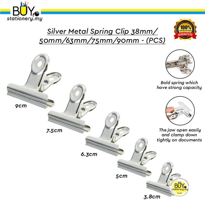Silver Flat Metal Spring Clip 38mm/50mm/63mm/75mm/90mm – (PCS)