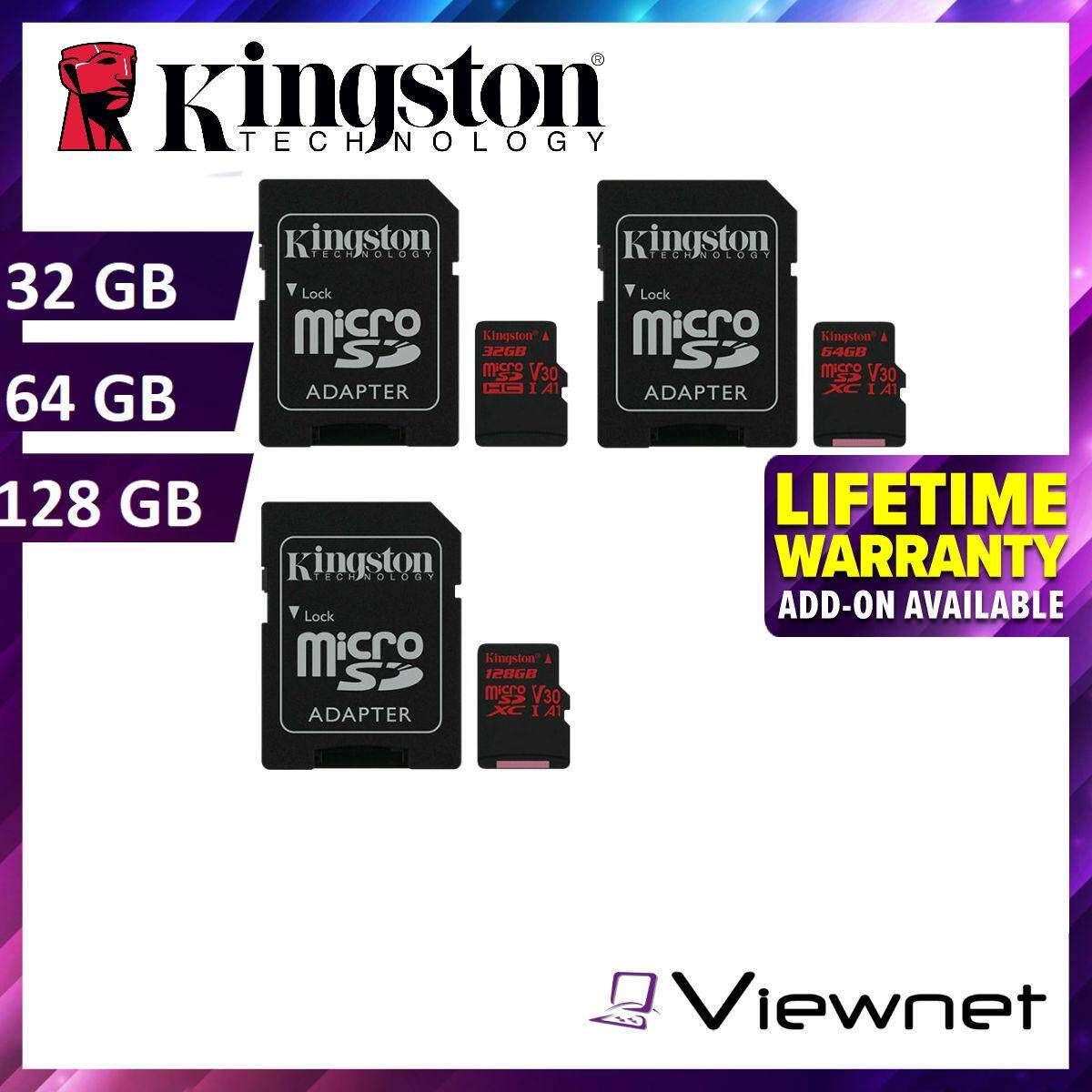 Kingston Canvas React 32GB/64GB/128GB Class 10 U3 UHS-I microSDHC/SDXC memory card (SDCR/32GB/64GB/128GB)