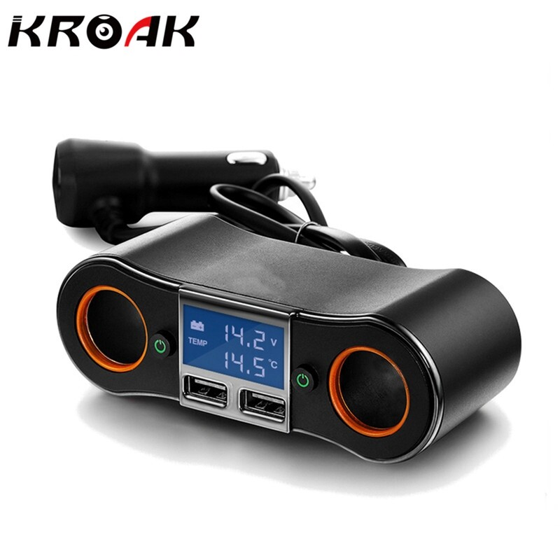 Car Accessories - KROAK Dual USB Car Charger Volmeter Adapter Max 3.5A Output Support LED Display - Automotive