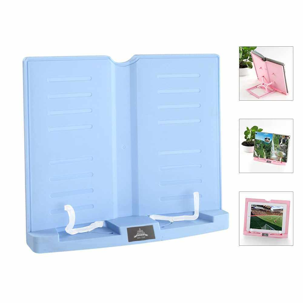 Portable Book Stand Adjustable 6 Angles Book Document Holder Foldable Bookstand Hands Free Desk Reading for Cookbook Recipe Music Book Textbook Tablet Accessories (Blue)
