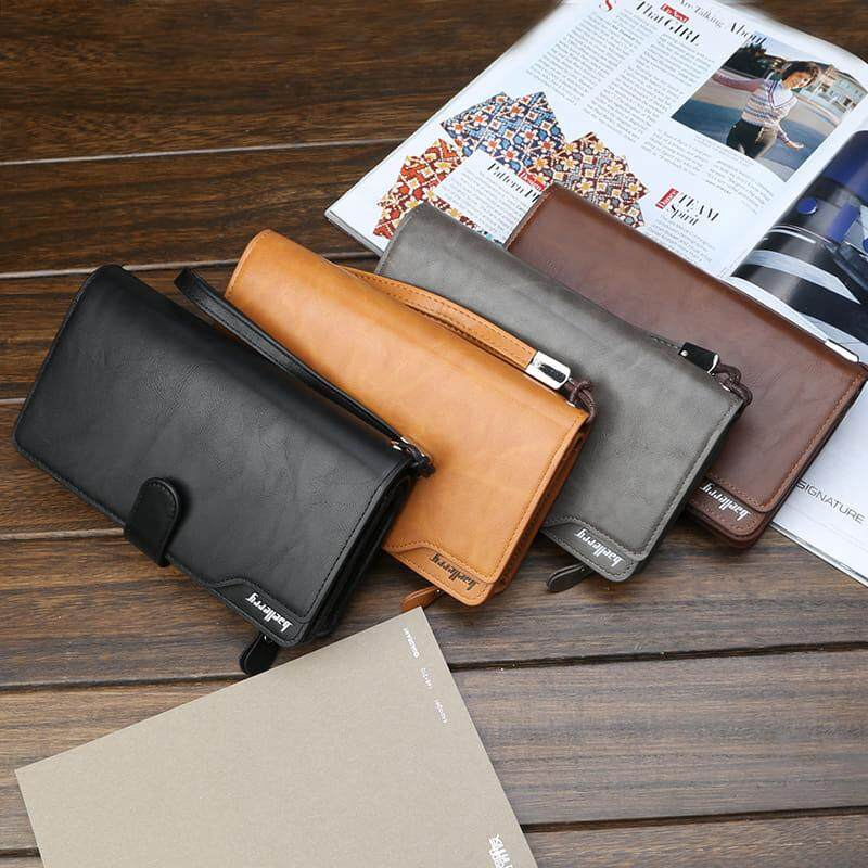 [M'sia Warehouse Direct] 2020 Korean Series Men's Leather Clutch Bag With String Fengshui Long Wallet Can Fit Iphone Any Android Mobile Long Purse Perfect Gift For Love One (can request box) Multifunctional Card Holder Dompet Panjang Kulit Halal Lelaki