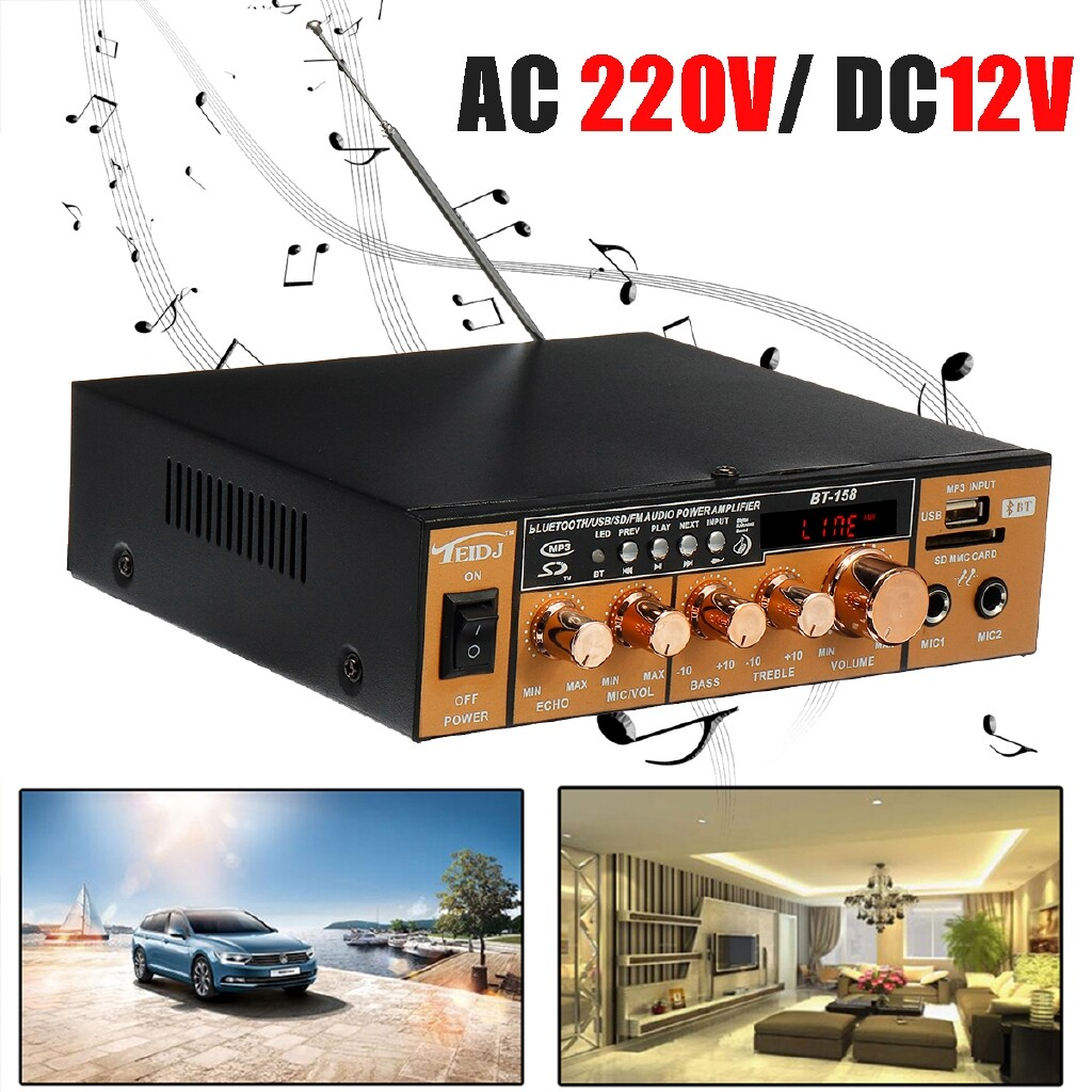 Amplifiers & Receivers - 600W 220V 2CH Remote Control HIFI Audio Stereo Power LCD Amplifier BLUETOOTH FM Radio Car Home - Home Entertainment