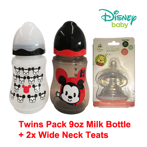 Disney Baby Mickey 9oz Wide Neck Bottle (Twin Pack) + 2x BPA-Free Silicone Teats