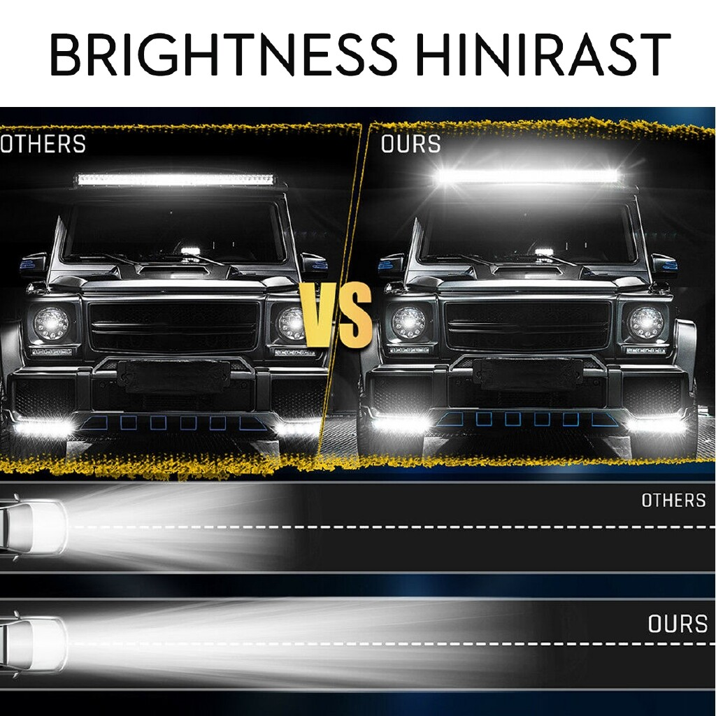 Car Lights - 17Inch 252W LED Work Light Bar Strobe Flash Lamp White & Amber Offroad SUV Truck - Replacement Parts