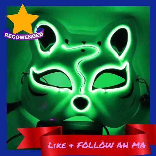 Best Selling 10 Color Fox Half Face Mask Neon Lights Halloween Party Led Lampshade Dark Glowing Cosplay Mask Party Costume Mask (Green)