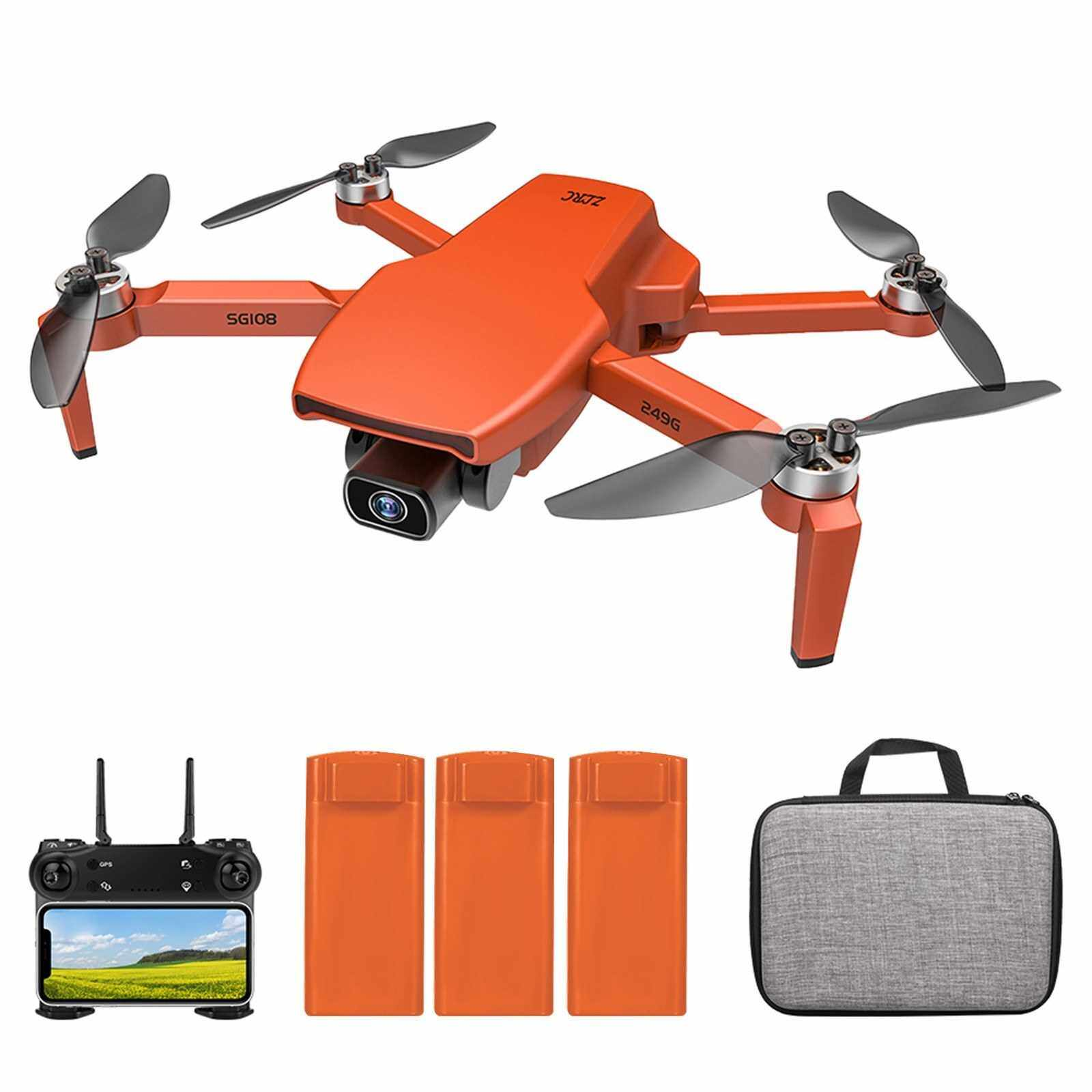 SG108 RC Drone with Camera 4K Camera Brushless Drone Dual Camera 5G WiFi FPV GPS Optical Flow Positioning Gesture Photo Video Point of Interest Flight Follow Me RC Qudcopter (Orange)