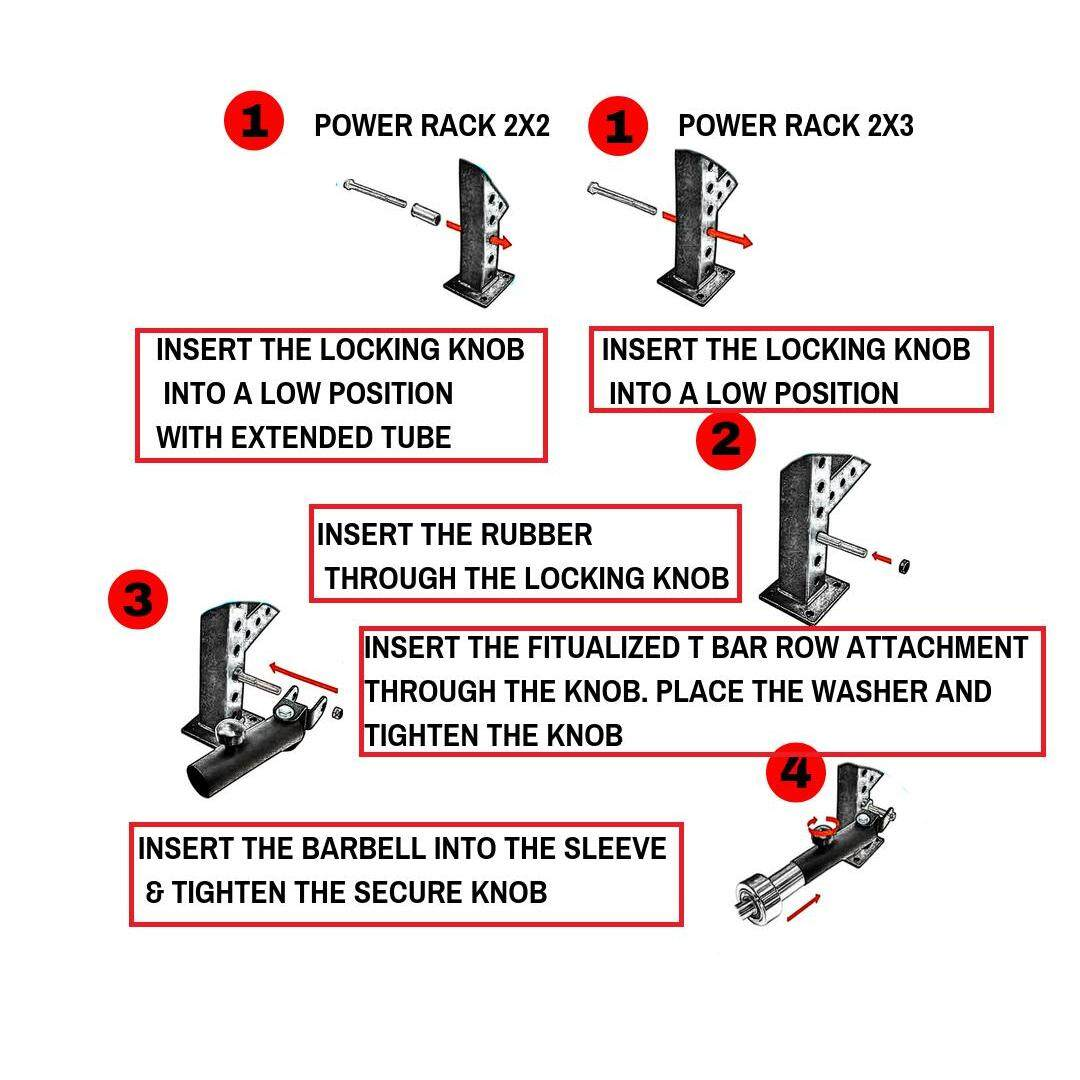 FITUALIZED Landmine Attachment / T Bar Row Attachment for Power Rack - Fit 2-inch Olympic Bars - Compatible with 2x2, 2x3 & 3x2 Rack