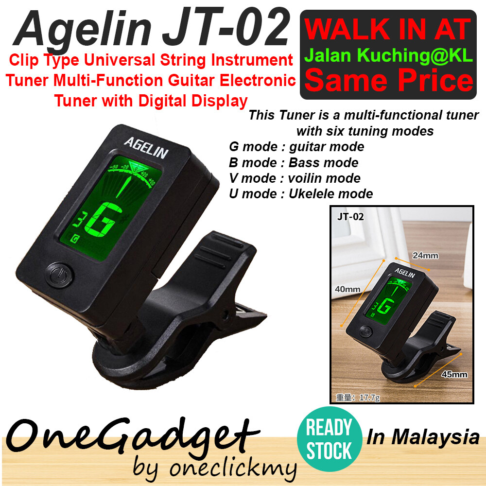 [READY STOCK]AGELIN JT-02 Clip Type Universal String Instrument Tuner Multi-Function Guitar Electronic Digital Display