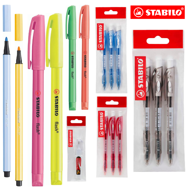 **SPECIAL PACK** STABILO Liner 308FW Ballpoint Pen  4 x Flash Highlighters  2 x Pen 68 and Correction Pen