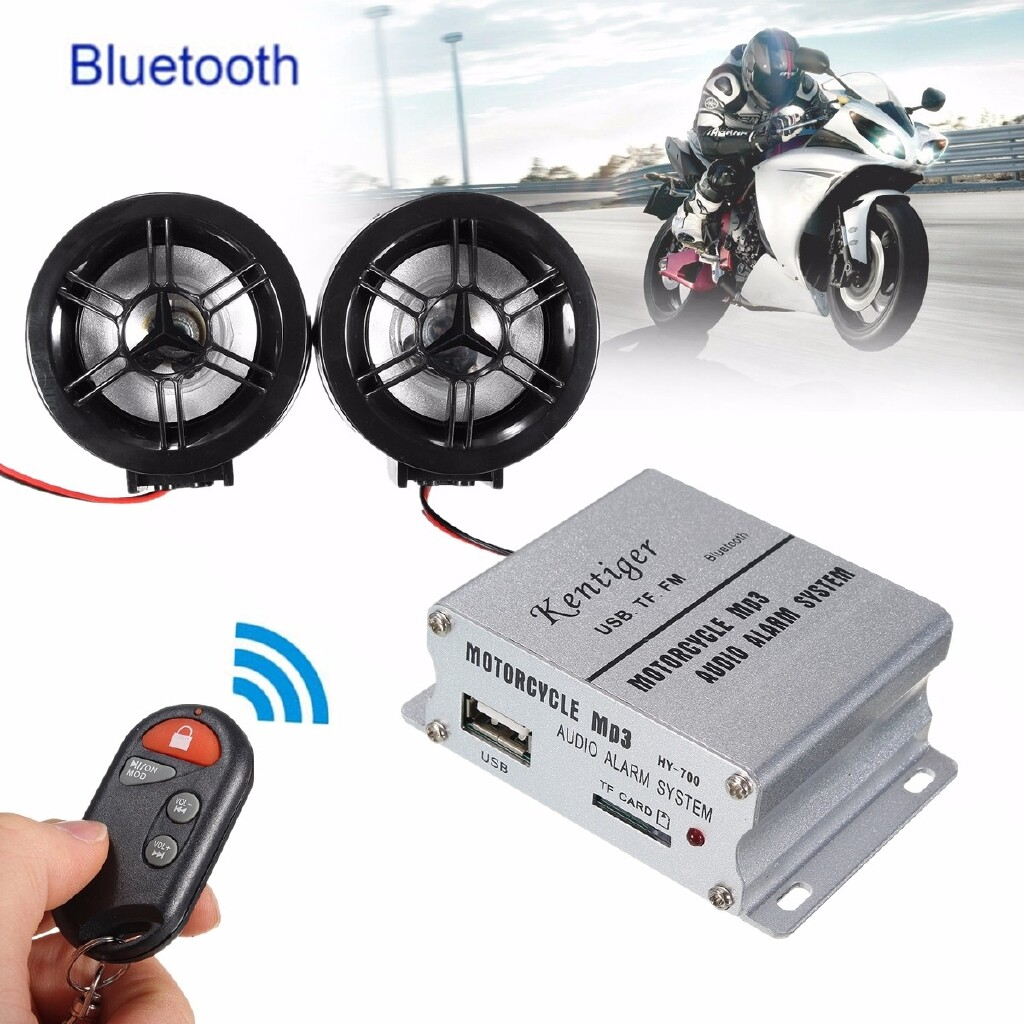 Automotive Tools & Equipment - Motorcycle Audio Amplifier Speaker FM USB/TF/MP3 + Security Anti-theft Alarm - Car Replacement Parts