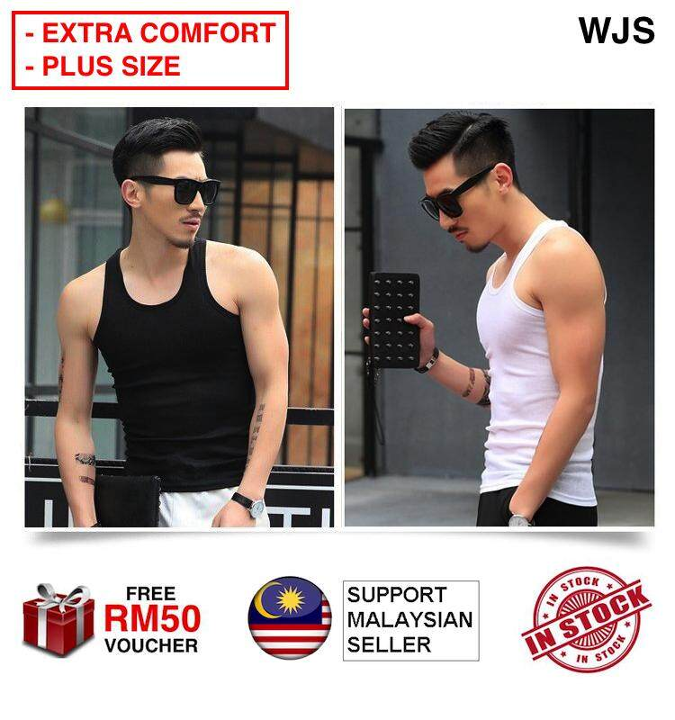 (COMFORTABLE FOR PLUS SIZE) WJS Men Comfortable Cotton Singlet Plus Size Singlet High Quality Plain Color Men    s Tank Top Gym Fitness Sleeveless Vest Shirt Sleeping Shirt BLACK WHITE GREY [FREE RM 50 VOUCHER]