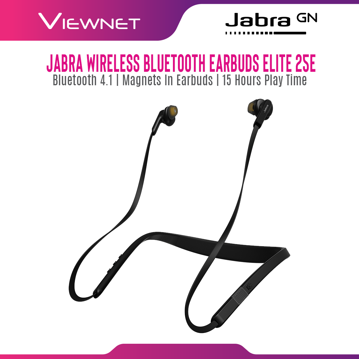 Jabra Elite 25e Wireless Bluetooth Stereo Neckband In-Ear Headphones with Magnetic Earbuds, Call Vibration Alert
