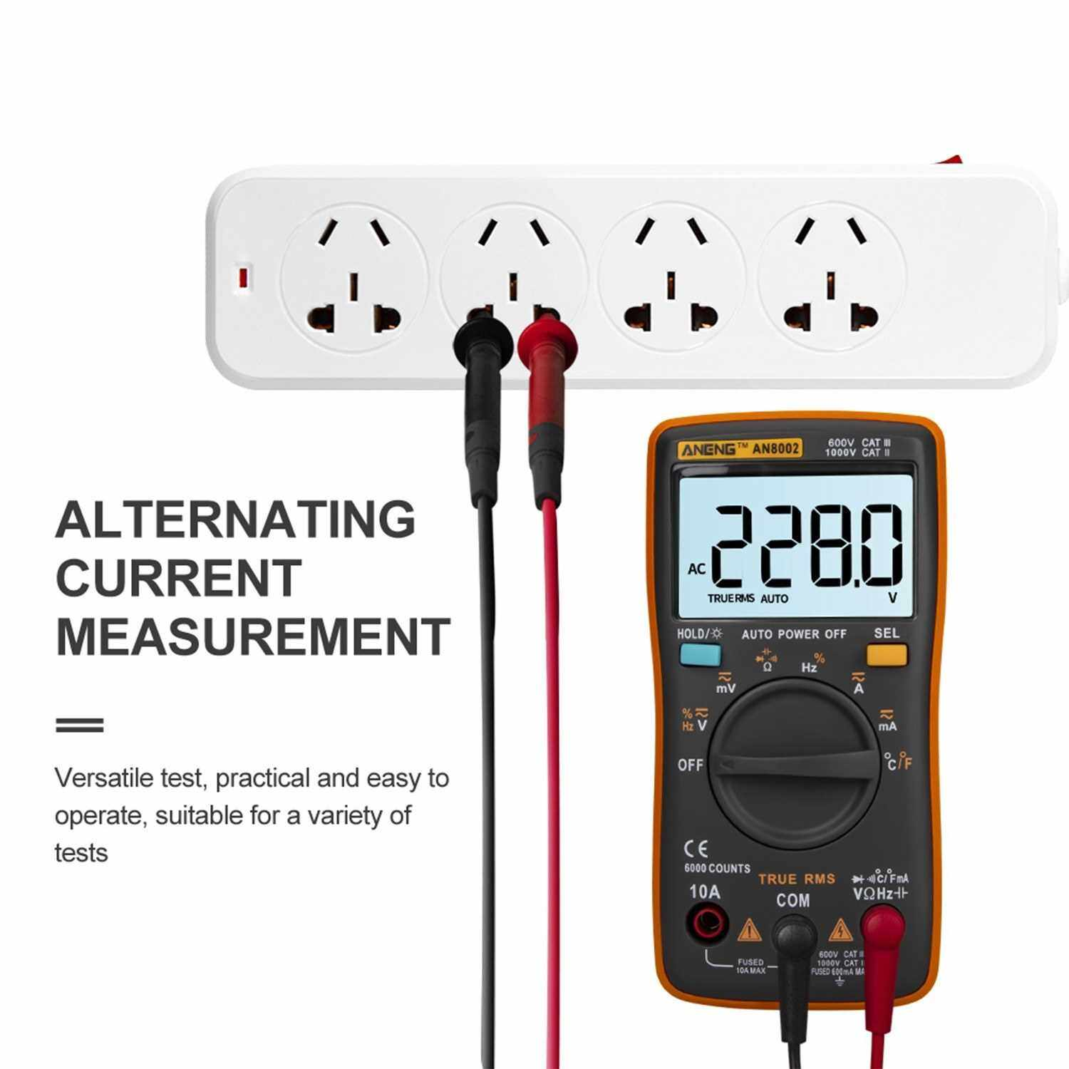 ANENG AN8002 6000 Counts True RMS Multifunctional Digital Multimeter Voltmeter Ammeter Handheld Mini Universal Meter High Accuracy Measure Temperature AC/DC Voltage AC/DC Current Resistance Capacitance Frequency Duty Cycle Diode Tester (Orange)