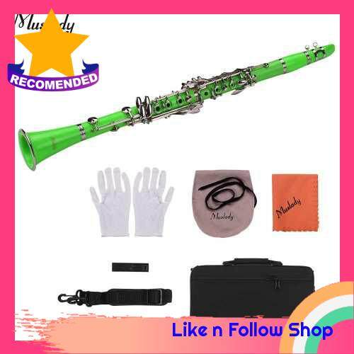 Muslady ABS 17-Key Clarinet Bb Flat with Carry Case Gloves Cleaning Cloth Mini Screwdriver Reed Case 10pcs Reeds Woodwind Instrument (Green)
