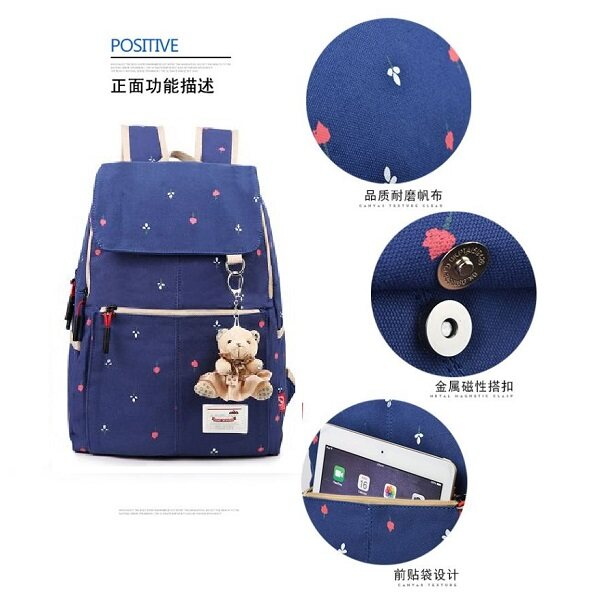 MCYS Modern Korea Style Dark Blue Canvas Girls Primary/Secondary/Travel Backpack School Bag
