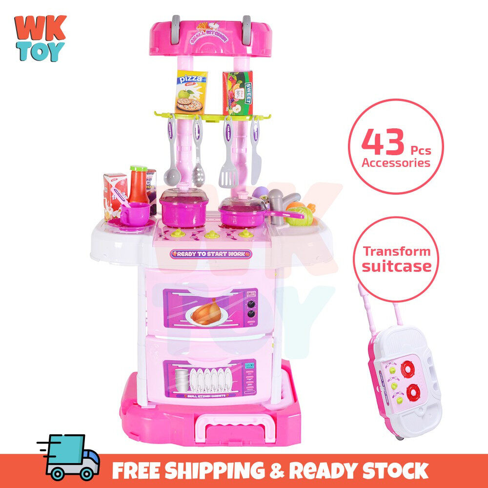 WKTOY 72cm 43pcs accessories 3 In 1 Little Chef kitchen Small Gourmet Pretend Play Set with Trolley Suitcase