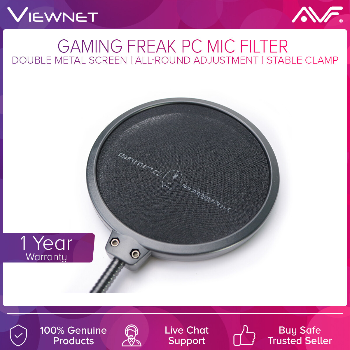 AVF Gaming Freak PC Microphone Filter (GF-POPFILTER) with Double Metal Screen, All-Round Adjustment, Stable Clamp