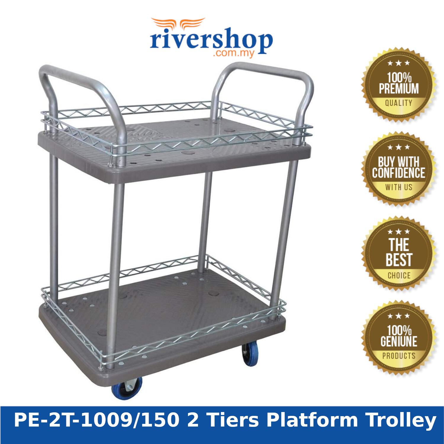Rivershop Multi-Purpose Double Deck 2 Tiers Platform Trolley PE-2T-1009/150 with Handle for Home Restaurant Commercial