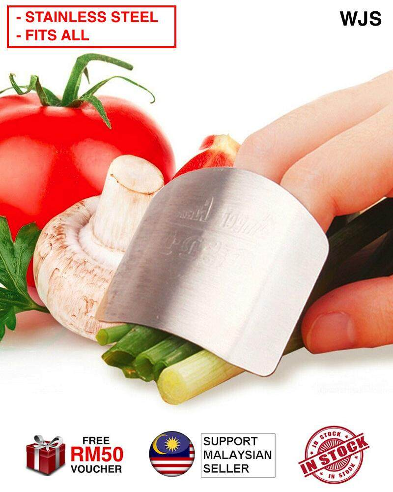 (ANTI-RUST MATERIAL) WJS New Kitchen Stainless Steel Finger Protector Hand Protector Ring Chop Finger Shield Finger Guard Adjustable Guard Cut Safety Gadgets Cooking Tools SILVER [FREE RM 50 VOUCHER]