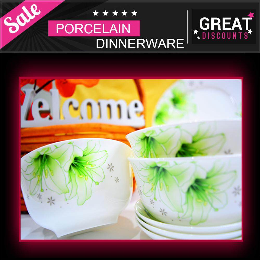Korea Style Fine Porcelain 28 Pieces Round Dinnerware Plate Set Green + White + Flower