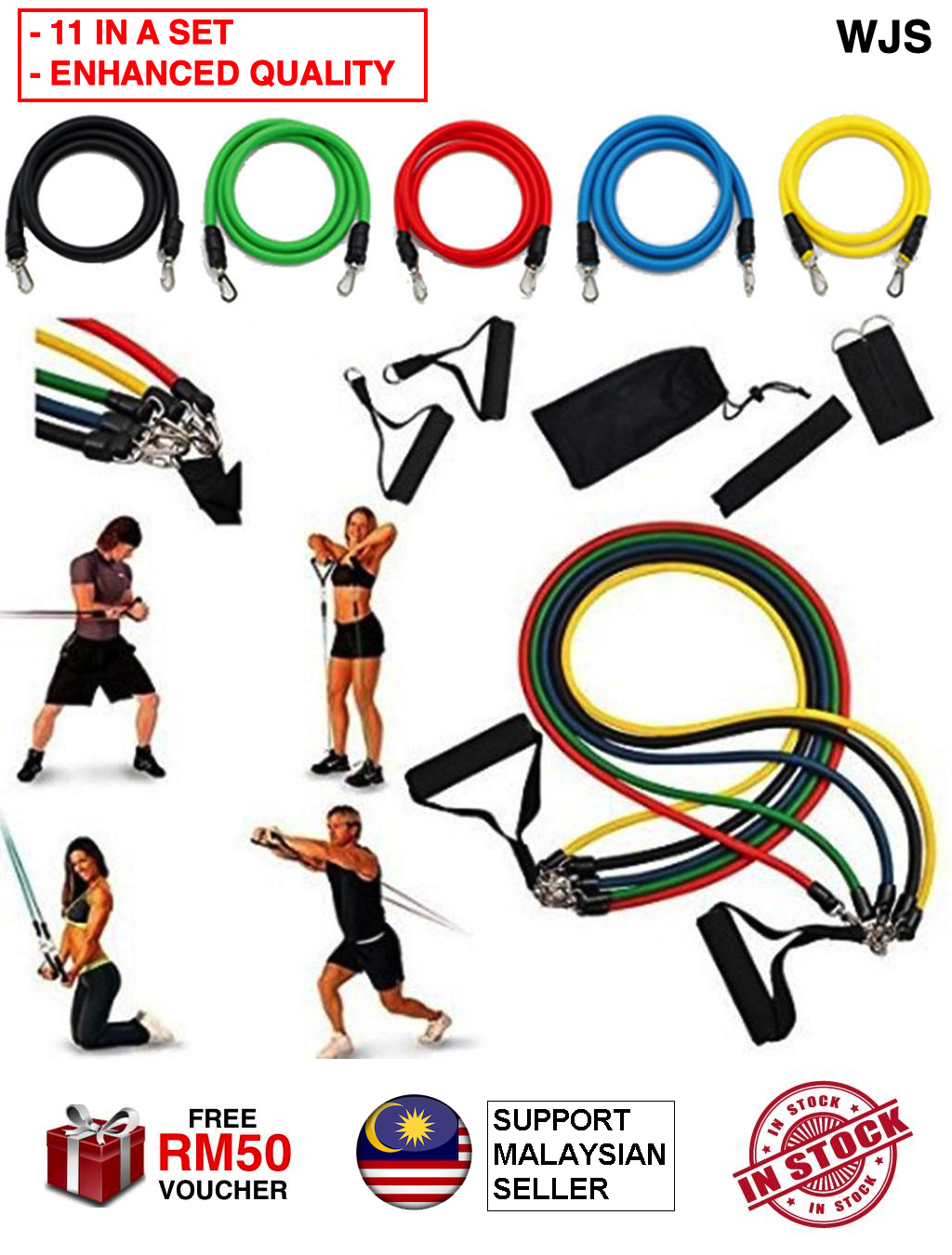 (FREE CARRY BAG) WJS 11pcs 11 pcs Enhanced Quality Pilate Resistance Exercise Band Set Yoga Pilates Abs Fitness Tube Workout Bands Home Gym Cardio Stretch Band MULTICOLOR [FREEM RM 50 VOUCHER]
