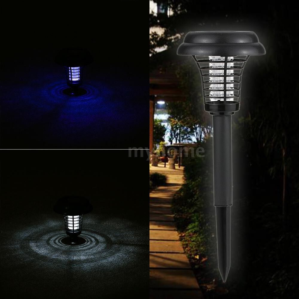 Outdoor Lighting - 2 Modes Solar Powered Light Sensor Electric Mosquito Pest Bug Insect Moth Repellent Killer Lamp LED - #