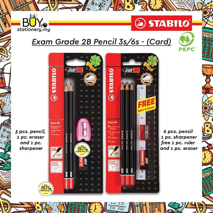 Stabilo Exam Grade 2B Pencil Blister Pack 3s/6s - (CARD)