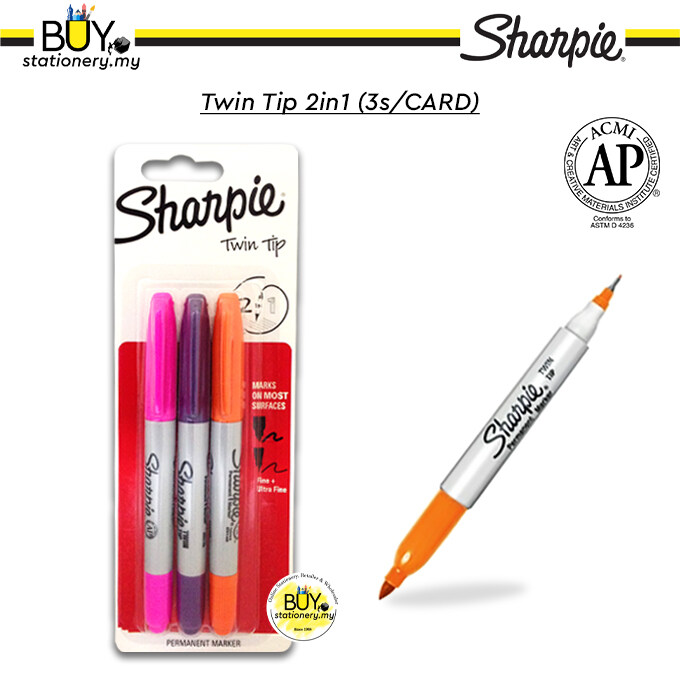 Sharpie Twin Tip Permanent Markers 2in1 - (3s/CARD)