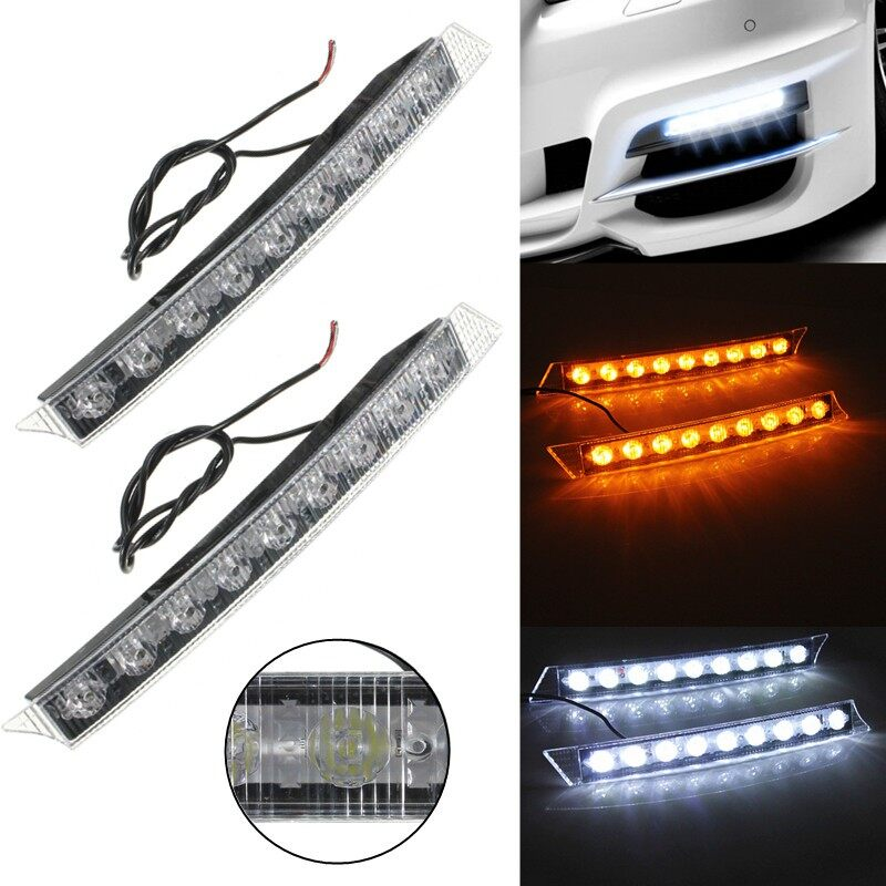 Car Lights - 2x Car 9LED White Daytime Running Light DRL Amber Turn Signal Lamp 12V - Replacement Parts