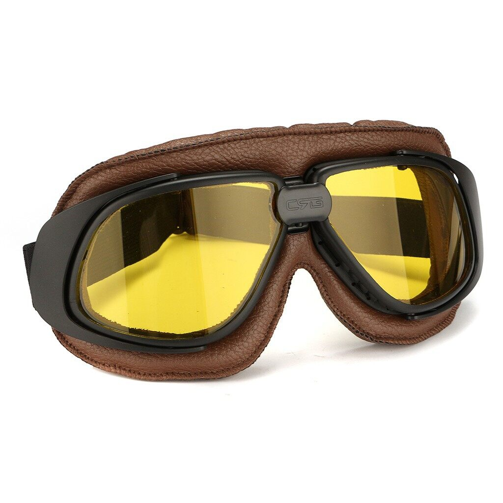 Moto Accessories - Motorcycle Scooter Goggles Mens Retro Eye Helmet - YELLOW LENS / COLORFUL LENS / SLIVER LENS / GREY LENS / WHITE LENS