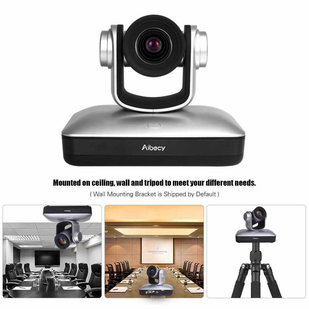 Aibecy HD Video Conference Cam Conference Camera Full HD 1080P Fixed Focus Zoom 105 Degree Wide Viewing with 2.0 USB Web Cable Remote Control for Business Live Meeting Recording Training (Silver)