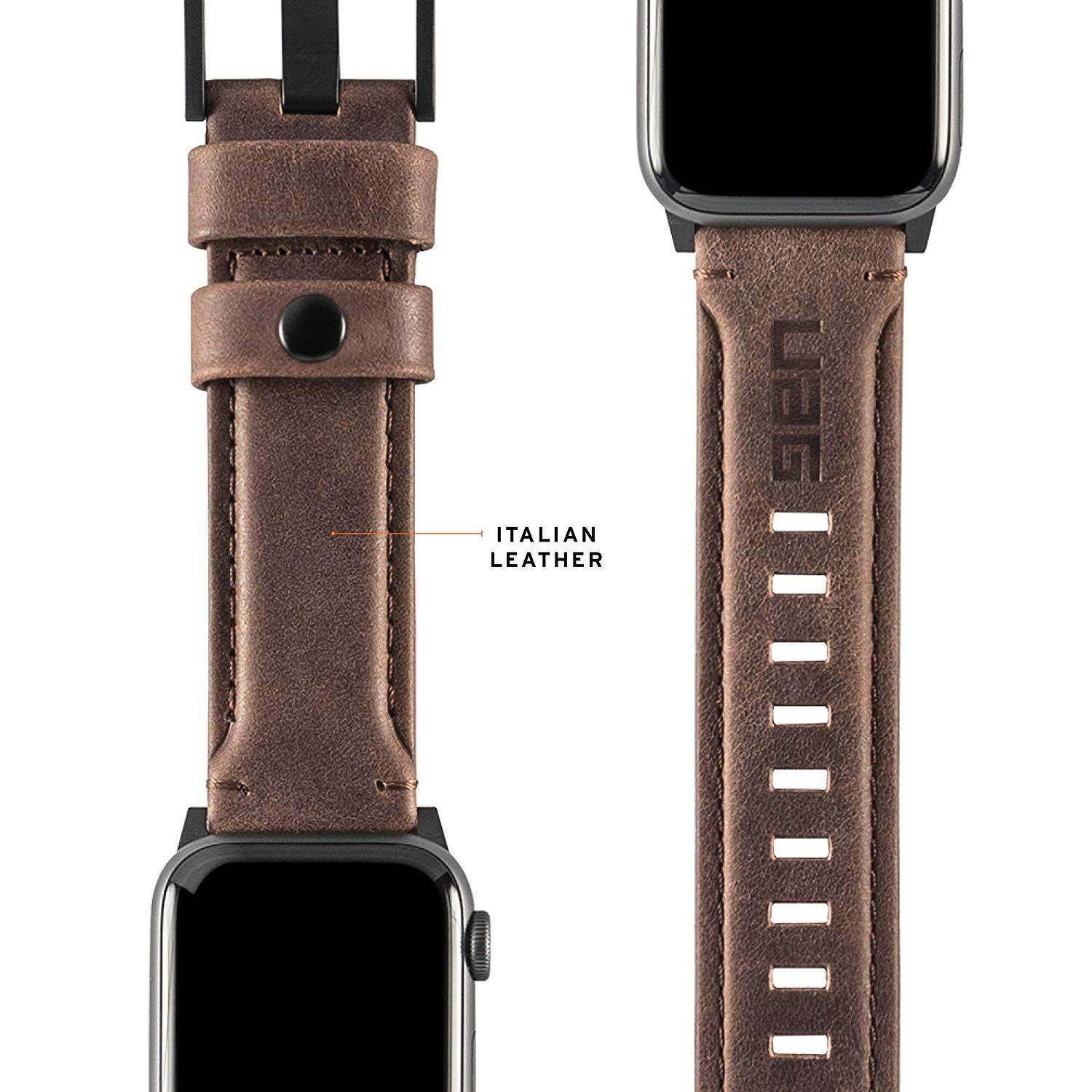 Original UAG Leather Strap for Apple Watch 44mm & 42mm, Series 4/3/2/1, Leather Brown