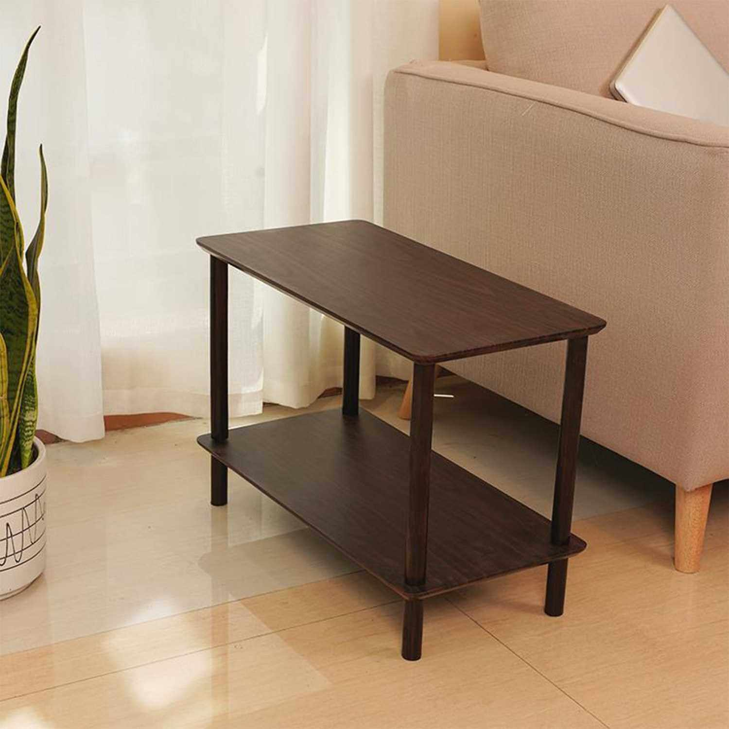 2-Tier End Table Coffee Side Table Nightstand with Open Design Wood Grain Pattern Home Decor Furniture for Living Room Bedroom Balcony 40*30*42cm (Black)