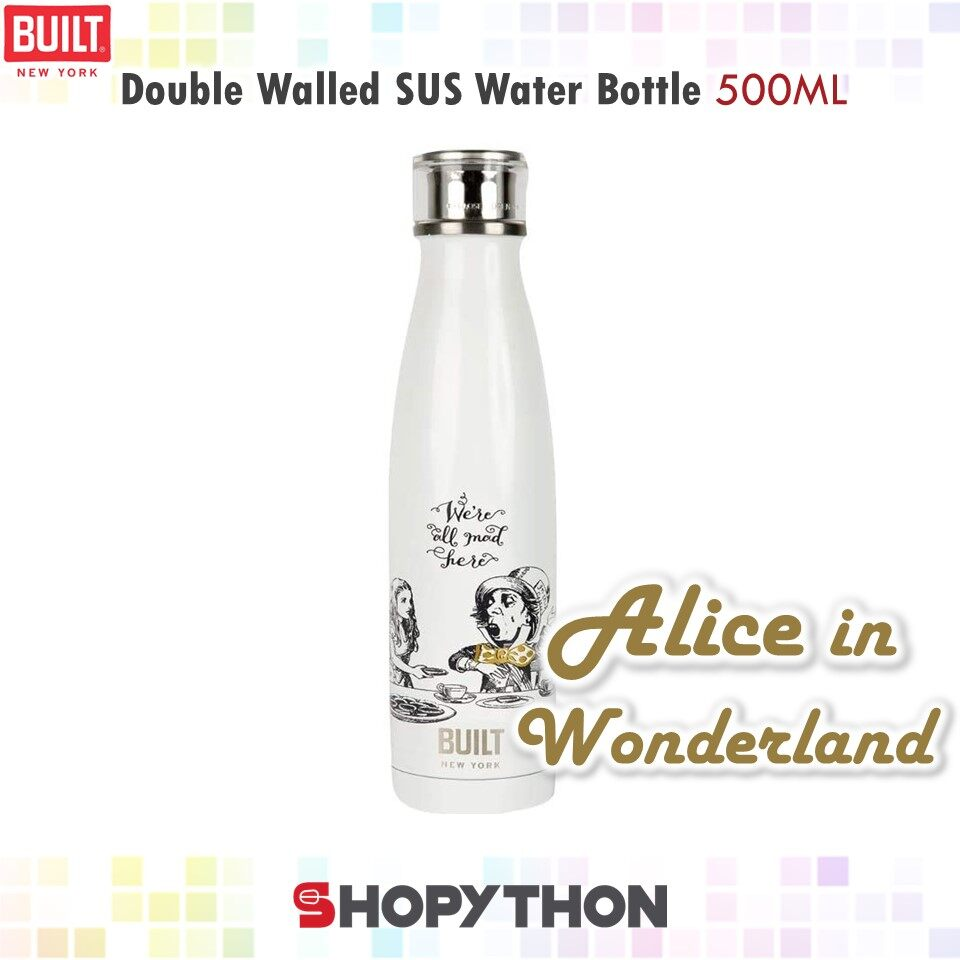 BUILT NY V&A Double Walled Stainless Steel Water Bottle 500ml (Alice in Wonderland) Thermal Flask Thermos Stylish Fashion Design White Perfect Seal Technology