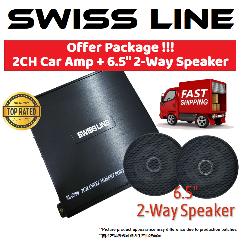 "SWISS LINE SL-2000 Car Amplifier 1600 Watts 2-CH Channel High Performance Power Car Amp for Car Speaker 2ch amp + Swiss Line SL-6.2 6.5"" 2Way Car Speaker 200Watts"