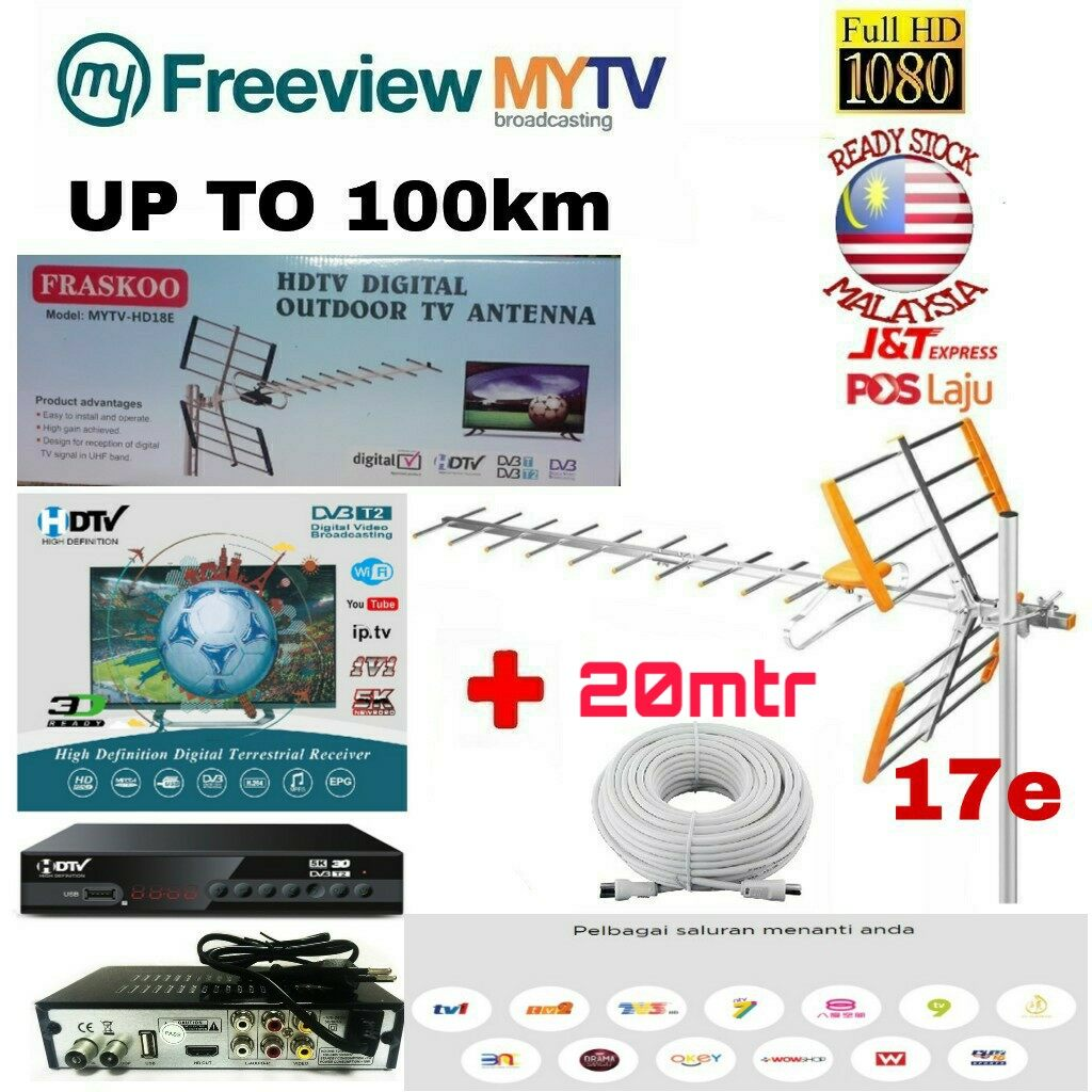 MYTV Myfreeview HDTV DVB T2 MYTV DIGITAL TV DECODER with 17 Element UHF MYTV HD9E Antenna with 20m Cable