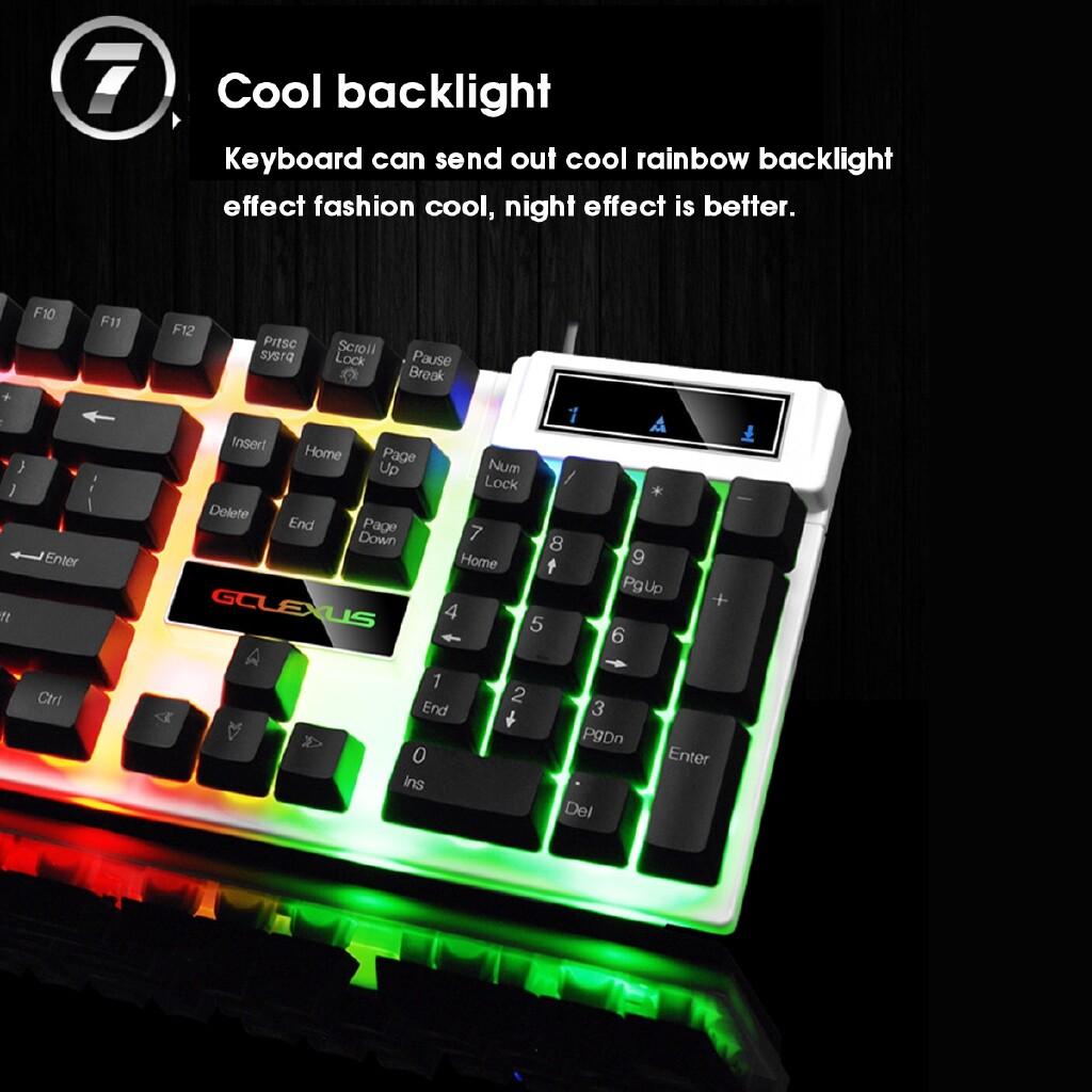 Keyboards - Adjustable LED Colorful Backlight Gaming USB Wired Keyboard + Mouse SET - BLACK / WHITE