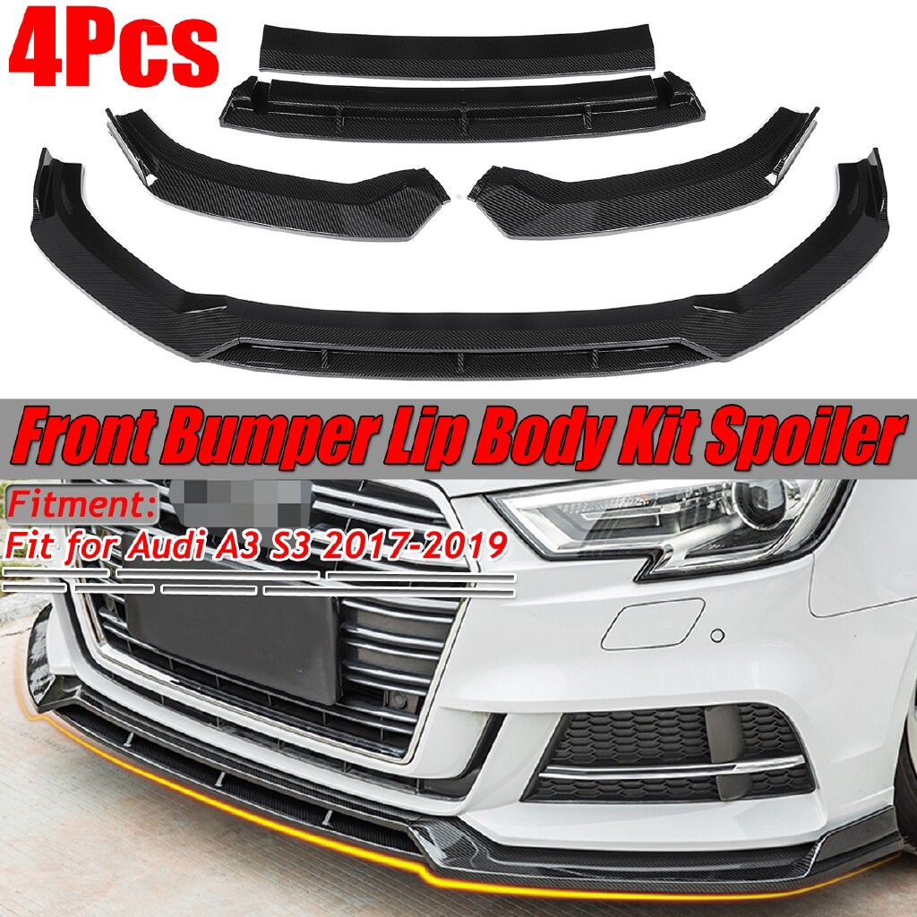 Engine Parts - Carbon Front Lower Bumper Lip Body Kit Spoiler Splitter For Audi A3 S3 2017- - Car Replacement