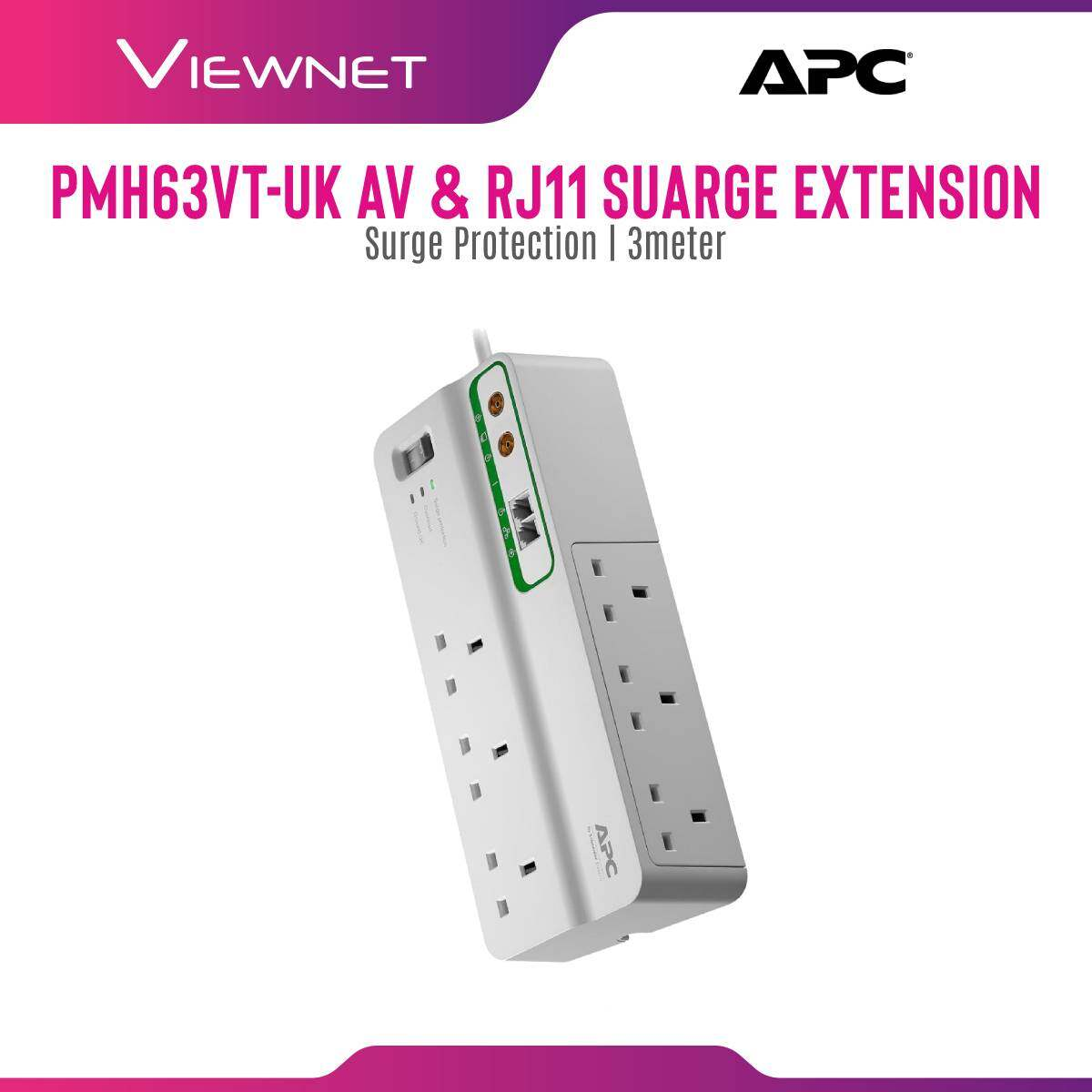 APC Home/Office SurgeArrest 6 PLUGs (PMH63VT-UK) with Phone and Coax Protection 230V UK