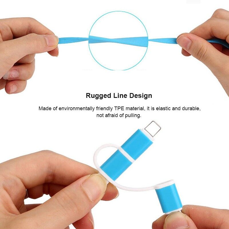 Mobile Cable & Chargers - 3 in 1 Multiple Charger Cable Connector with USB Type C/Micro For iPh Samsung
