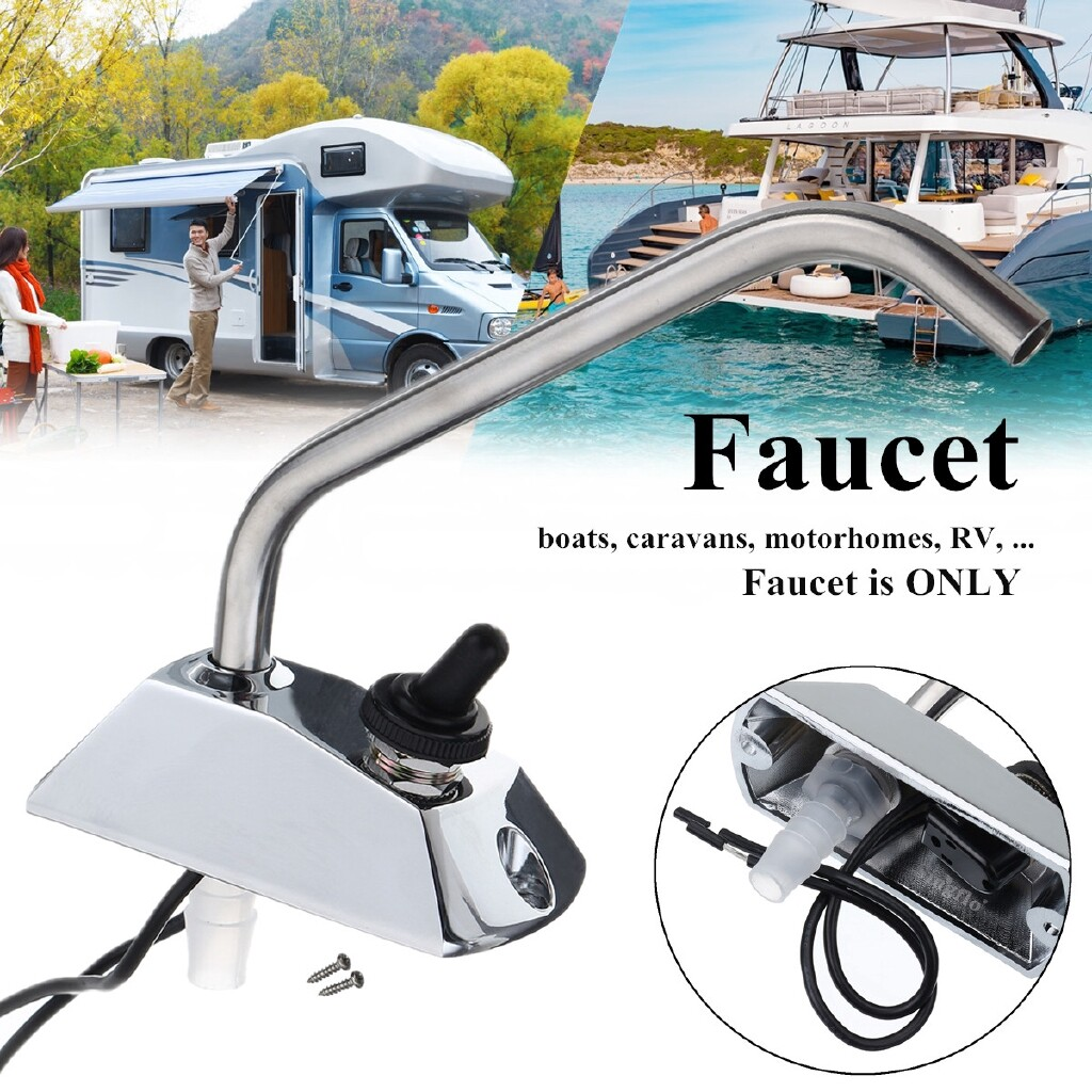 Power Tools - DC12V Galley 360 Rotation Faucet Tap With Switch Kit For Caravan Boat Motorhome - Home Improvement