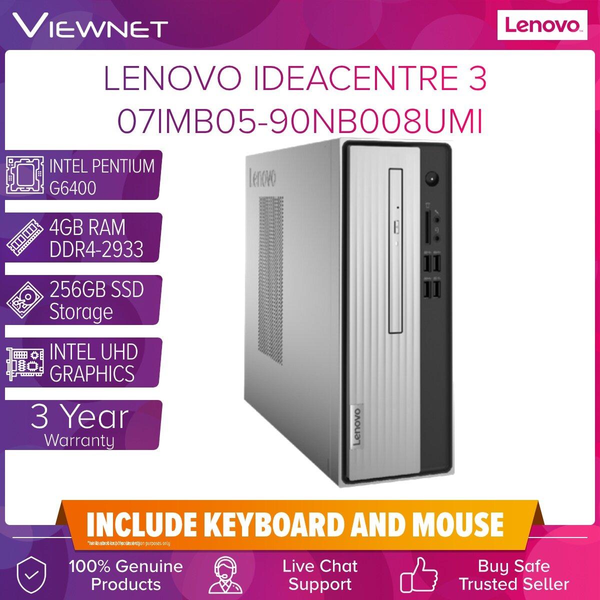 LENOVO IDEACENTER 3 07IMB05-90NB008UMI INTEL PENTIUM G6400 4GB DDR4 256GB SSD DVDRW INTEL HD 3 Years Warranty Onsite