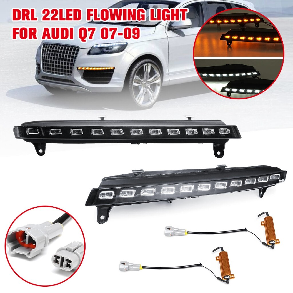 Car Lights - Pair DRL Daytime Running Lights Turn Signal Lamp 22 LED For Audi Q7 2007-2009 - Replacement Parts
