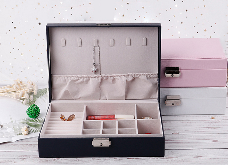Multi Purpose PU Leather Jewelry Accessories Earrings Necklace Storage Box
